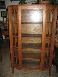 Antique Mission Period Quarter Sawn Oak China Cabinet Mullioned Sides