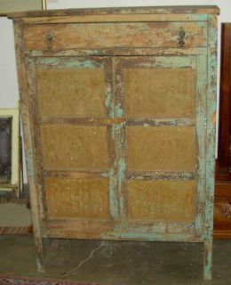 Original Painted Green Patina Antique Pie Safe from Late 1800S
