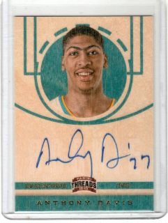 2012 PANINI THREADS ANTHONY DAVIS RC WOOD ON CARD AUTO HORNETS