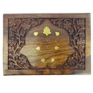 Antique Vintage Style Small Wooden Jewelry Box Decorative Storage