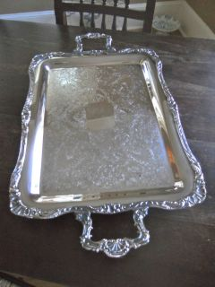 antique WM ROGERS Silver Plated 291 Waiters Tray HEAVY Eagle Star