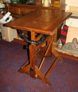 Antique Drafting Table School Desk Tilting Table