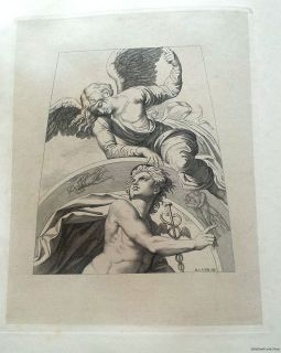 NR 1839 Rare ANTIQUE Illustrated Book ITALY Plate Engraving ANGEL ROME