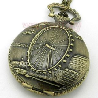 Antique Bronze London Eye Quartz Pocket Watch Necklace Pendant Xmas
