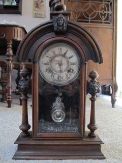 Antique Ansonia Clock Co Wooden Shelf Clock
