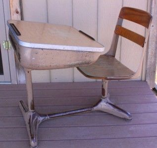 Vintage Metal Wood School Desk American Seating Company Mid Century
