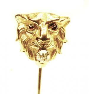 ANTIQUE VICTORIAN 10Kt SOLID GOLD DIAMOND & RUBIS STICK PIN HATPIN TIE