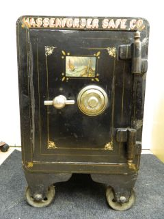 Old Antique Vintage Small Cast Iron Floor Safe