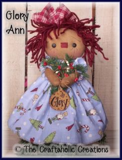Primitive Raggedy Annie Doll Christmas Small Tree Topper Custom Order