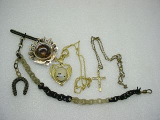 ANTIQUE JEWELRY LOT WOVEN HAIR CHAIN w HORSESHOE FOB PICTURE PIN FOB