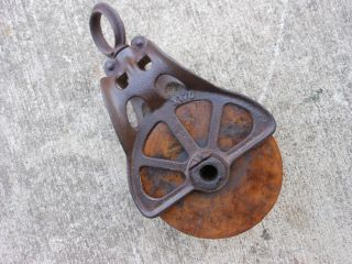 Vintage Barn Pulley Antique Farm Tool Primitive