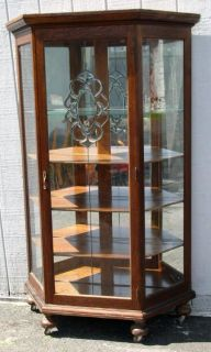Oak Slant Sided China Cabinet with Leaded Glass Door
