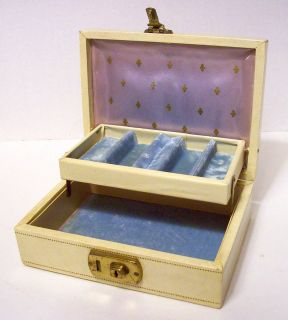 Vintage Mele Creamy Leather Gold Embossed Jewelry Box w Light Blue