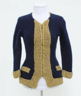 James Coviello for Anna Sui Navy Metallic Gold Knit Jacket Size Small