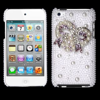 Heart Bow Pearl 3D Bling Back case with Package APPLE iPod touch 4th