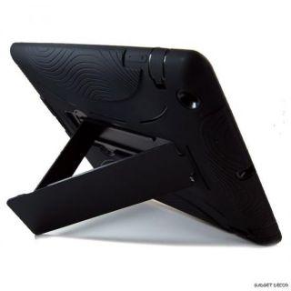For Apple iPad 2 iPad2 Black Hybrid Heavy Duty Kickstand Hard Soft