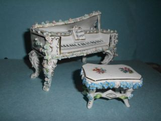 Antique Porcelain Piano Bench Figurines Dresden Meissen Germany