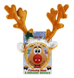 Reindeer Antlers and Light up Blinking Rudolph Flashing Nose Set   One