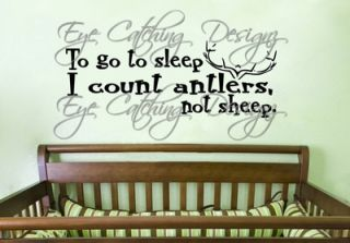 Count Antlers to Sleep Deer Nursery Hunting Room Wall Decal Vinyl
