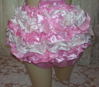 Adult Baby Romper Sissy Satin French Maid Pink White Ruffles Vinyl