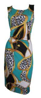 Aqua Black Glamour Print Pencil Shift Dress Size 14 New