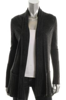 Aqua New Gray Cashmere Ribbed Trim Long Sleeve Open Front Cardigan