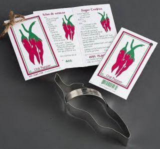 Ann Clark Chili Pepper Cookie Cutter w Recipe Card New