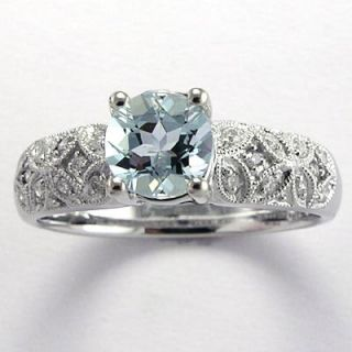 Aquamarine and Diamond Engagement Ring 18K White Gold