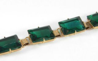 Eye Catching 1950s Vintage Emerald Green Glass Stone Set Cocktail