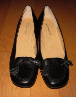 Anne Klein Womens Black Leather Heels Maauburn 9 Sharp Must C