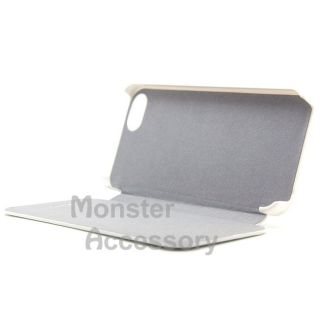 White Leather Flip Case Cover for Apple iPhone 5