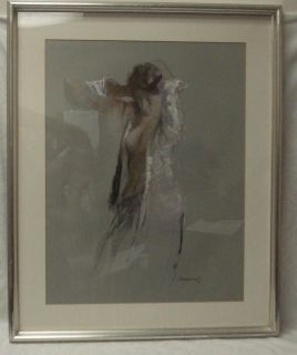 Joan Marti Aragones Listed Artist Lady in White Shirt Graphite Pastel