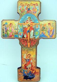 Saint St Michael Archangels w Devil Catholic Wood Crucifix Wall Cross