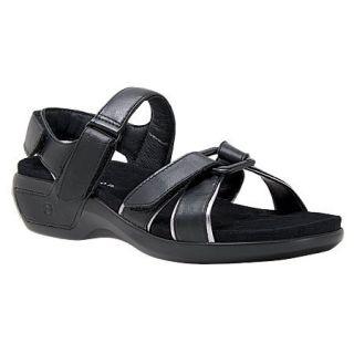 Aravon by New Balance Kira Womens Black Leather Sport Sandals WSK04BK