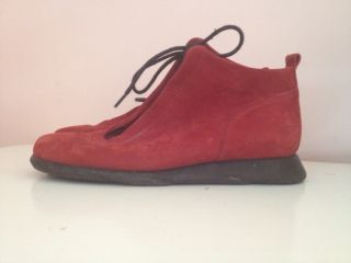 ARCHE RED SUEDE LEATHER BOOTS BOOTIES SHOES LACE MADE IN FRANCE WOMENS