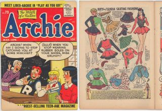 1955 Archie 73 Comic Book with Katy Keene Story and Paper Doll Cover