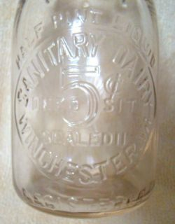 Sanitary Dairy Winchester VA Virginia Half Pint 5 Cent Milk Bottle