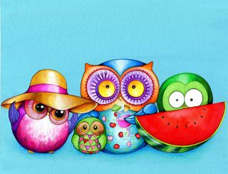 Summer Beach Owl Family Colorful Cute Owl Wall Art Kids Nursery