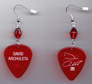 David Archuleta Red Signature Guitar Pick Earrings 2009