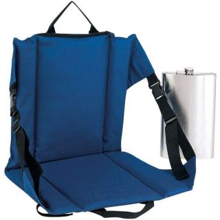 Blue Stadium Bleacher Cushion Chair w Pocket Flask Crazy Creek Folding