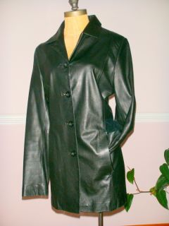 womens ARDEN B Black butter soft leather coat jacket 4 buttons L