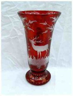 Art Nouveau Deco Bohemian Ruby Red Clear Etched Buck Deer Forest Vase