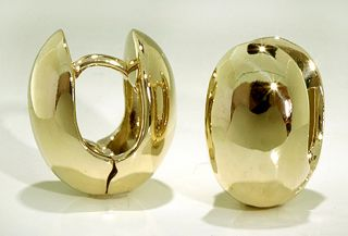 Shaped Huggie Earrings 10k Yellow Gold 10 mm Wide