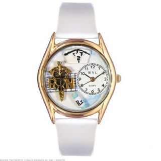 Whimsical Watches RN White Leather & Gold Tone Watch C0610019