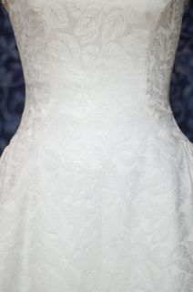 Demetrios White Leafy Matte Brocade Wedding Dress 10 w Bolero