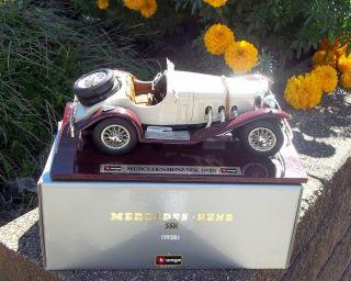 Vintage 1928 SSK Bburago Wood Stand #3509 118 Mercedes Benz Diecast