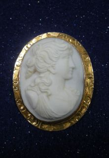 ANTIQUE ITALIAN CARVED SHELL CAMEO CHASED 10K GOLD BROOCH PIN PENDANT