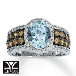 Le Vian 14k Chocolate Diamond Aquamarine Ring