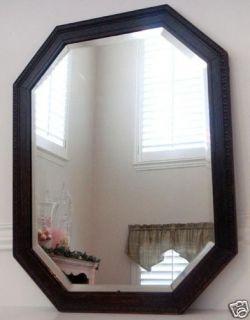 Antique Carved Oak Frame Beveled Glass Mirror