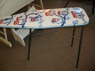 Vintage 1950s Childs Toy Ironing Board Owl Theme Red White Blue Metal